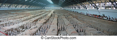 All the terracotta warriors army, Zian, China, Panorama -...