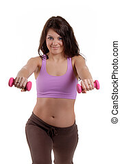 Pilates Workout - Pretty Young Woman Doing A Pilates Workout...