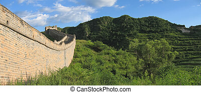 Detail of the Great Wall of China, China, Panorama