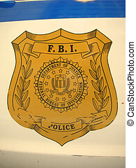 FBI sign on a car door, Washington - FBI sign on a car door...