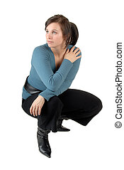 Crouching Woman - Young Woman Crouching Down, Dressed...