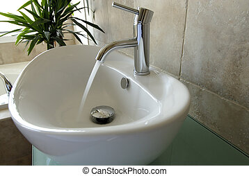 Modern Bathroom Ensuite, With A Vessel Sink And Modern...