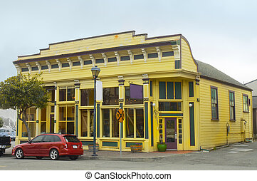 Victorian style store - Yellow store in Victorian style in...