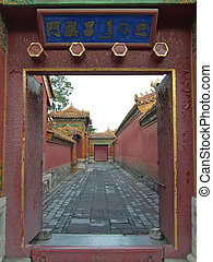 Imperial road trough an open door, Forbidden city, Beijing,...
