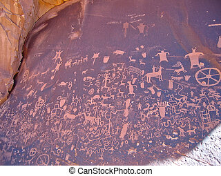 Indian drawings on a stone, Canyonlands National Park,...