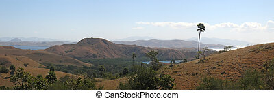 Large view of the Rinca island and its mountains, Komodo...