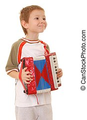 Accordion Boy 34 - Isolated young boy playing a diatonic...