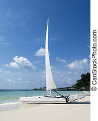 Catamaran on the beach - Catamaran sailboat on a white,...