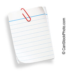 white lined paper on white background with clipping path