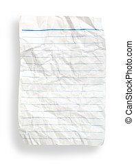 wrinkle white lined paper(with clipping path)