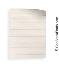 old lined paper with clipping path - a piece of old lined...