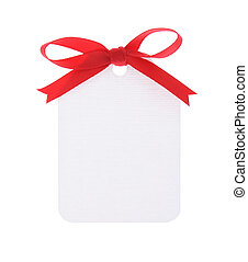 white gift tag with red bow on white backgroundwith clipping...