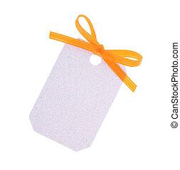 white gift tag with orange ribbon bow on white...