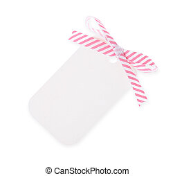 white gift tag with diagonal satin ribbon bow on white background---with clipping path