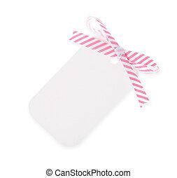 white gift tag with diagonal satin ribbon bow on white...