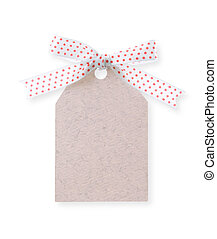 abstract pattern gift tag with red dot ribbon bow on white background(with clipping path)