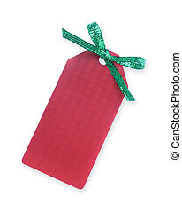 red gift tag with green sparkling bow on white...