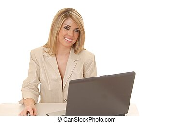 Helpdesk Girl 209 - Lovely blond woman working at help desk