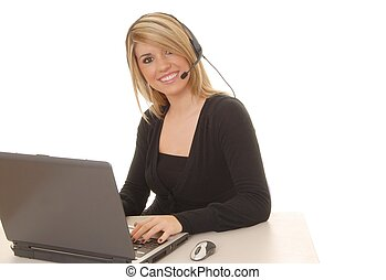 Helpdesk Girl 211 - Lovely blond woman working at help desk