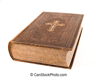 old holy bible - old antique holy bible in front of white...