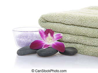 Green Towel, Orchid, Bath Salt and Pebble - Green Towel,...
