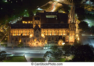St Marys Cathedral in Sydney, night scene, car light trails,...