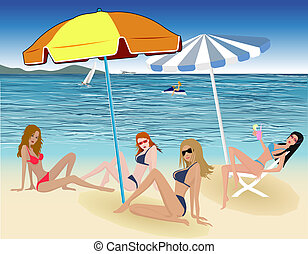 Beautiful sexy girls on beach - illustration