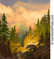Grizzly Bear - Image from an original 24x28 painting of...