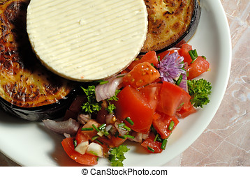 Fried eggplant dish - Close-up of fried eggplant with cheese...