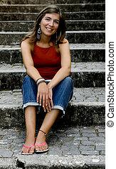 Beautiful woman - Beautiful young woman posing to the camera
