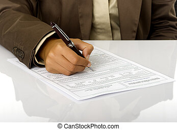 Sign the contract - Woman hand with a pen sign a contract