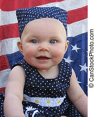 Patriotic Baby 1 - Adorable baby girl with blue and white...