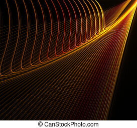 Orange Wall - abstract orange and yellow lines forming wall