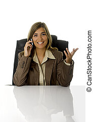 Business woman talking with clients at the phone