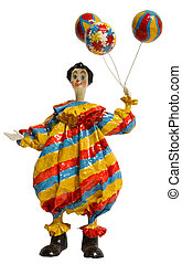 Circus Clown with Balloon - Colorful Paper Mache Circus...