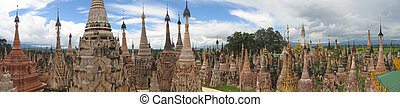 Sacred buddhist site of Kakku, Inle lake, Myanmar, Panorama...