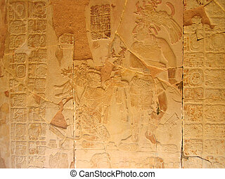 Stone carving with a maya chief, Palenque, Mexico - Stone...