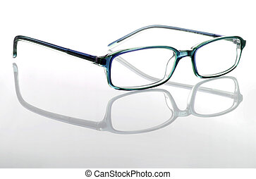 Glasses isolated in a white background with reflection