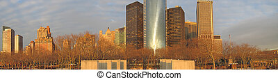 Sunset on the building tower skyline, New York, Large...