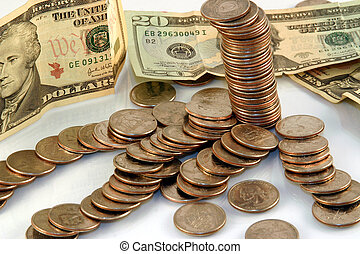 Stack of coins with cash