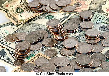 Pile of money - Mixed coins and cash