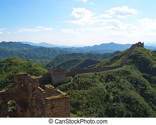 The Great Wall of China in the valley, China - The Great...