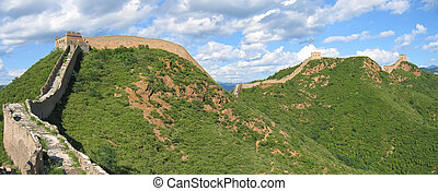 The Great Wall of China ond the mountains, China, Panorama -...