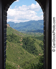 The Great Wall of China trough an arch, China