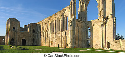 The Maillezais french abbey at the sunset, France, Panorama...