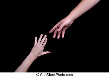Mentor - A hand of a mentor is reaching to give help, aid...