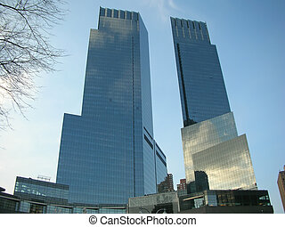 Two high business tower facing each other, New York - Two...