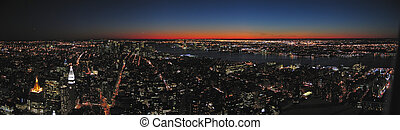 View on all the city by night from the Empire State...