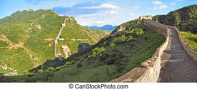 Walking on the Great Wall of China, China, Panorama -...