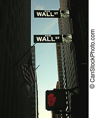Wall Street road sign with red pedestrian traffic sign, New...